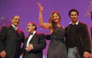 French actor Sami Bouajila, Italian actress Ornella Muti, president of the Carthage Film festival and director Ferid Boughdire, and Tunisian actor Raouf Ben