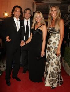 Ornella Muti and boyfriend Fabrice pose with Mauro Pizzigati and Tiziana Rocca