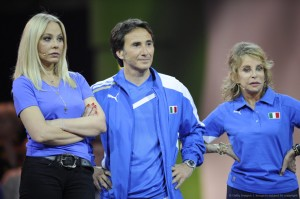 Ornella Muti, Bruno Maccallini and Sydne Rome of team Italy
