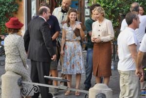 Ornella Muti, Alessandra Mastronardi, Antonio Albanese and Woody Allen on set of his new movie Bop Decameron in Italy